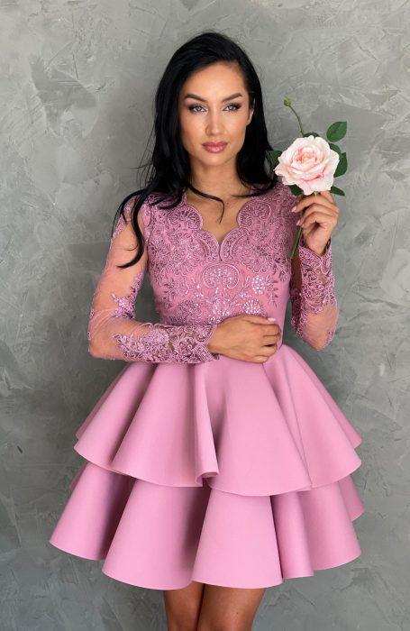 Rochie babydoll eleganta roz alegerea ideala pentru nunta, botez, sau cununia civila.