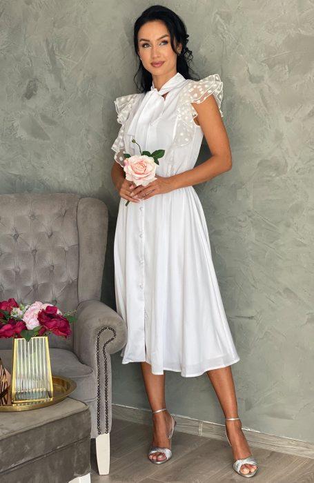 Rochie alba eleganta vaporoasa din matase alegerea inspirata pentru evenimentele importante la care participi.