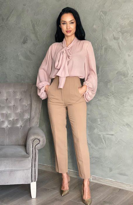 Camasa dama eleganta roz pudrat pentru tinute cu stil