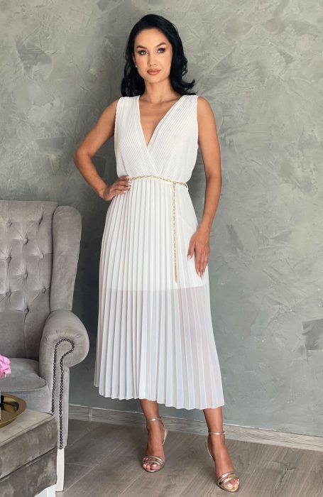 Rochie alba eleganta plisata ideala pentru evenimente: nunta, botez sau banchet.