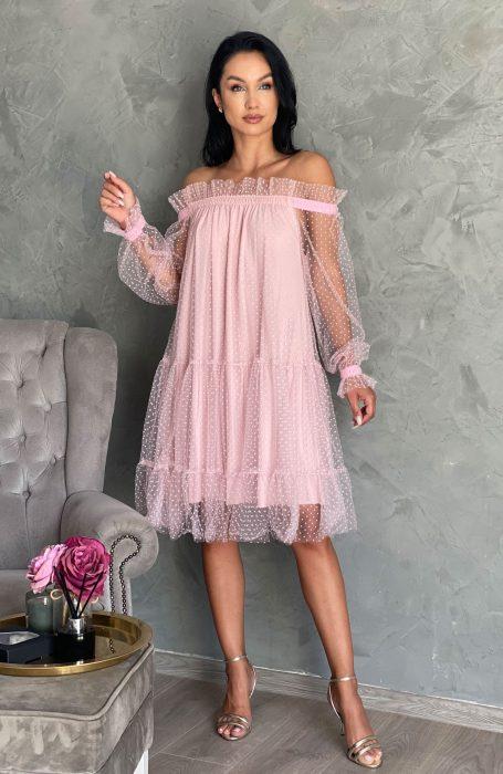 Rochie de ocazie din tull roz
