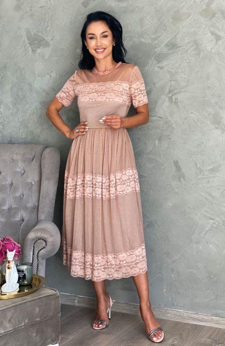 Rochie de ocazie midi Mira tinuta ideala pentru petrecerile la care esti invitata.